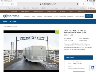 2021 Featherlite 4926 20' Enclosed Car Trailer